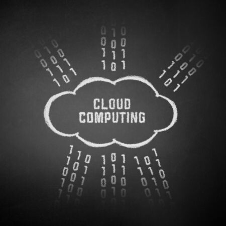 Conceptual picture on cloud computing theme. Drawing on textured background. Stock Photo - 11913913
