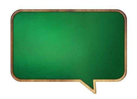 Speech bubble school desk with wooden frame. Isolated on white. Stock Photo - 11913914