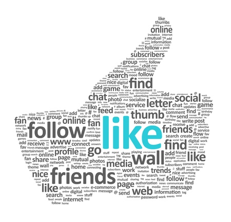 Illustration of the thumb up symbol, which is composed of words on social media themes. Isolated on white. Stock Illustration - 11978144