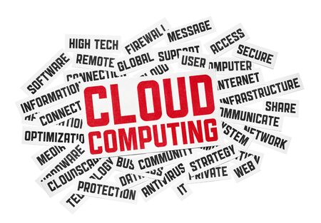 Cut pieces of paper with text on cloud computing theme. Isolated on white. Stock Photo - 11978148