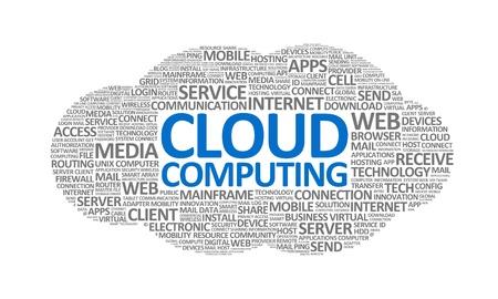 infraestructura: Palabra nube ilustraci�n conceptual sobre el tema de la computaci�n en nube. Aislado en blanco. Foto de archivo