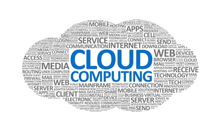 technology collage: Word cloud conceptual illustration on cloud computing theme. Isolated on white.