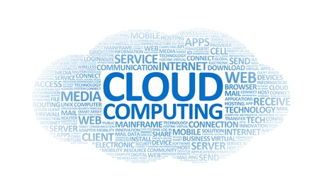web host: Word cloud conceptual illustration on cloud computing theme. Isolated on white.