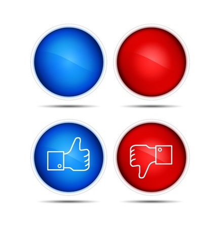 lIllustration of the thumb up and thumb down icons with blank. Isolated on white. illustration