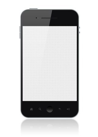 include: Modern smartphone with blank screen isolated on white. Include clipping path for phone and screen. Stock Photo