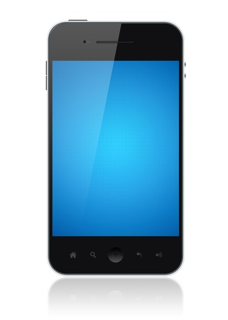 include: Modern smartphone with blue screen isolated on white. Include clipping path for phone and screen.