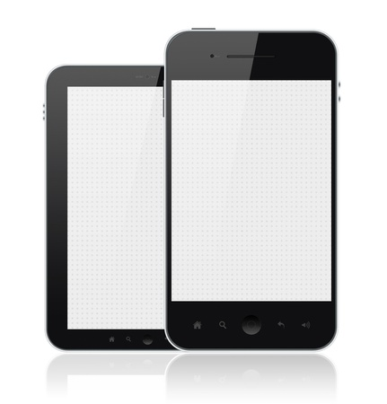 Two mobile smartphones with blank screen isolated on white. Include clipping path for phones and screens. photo