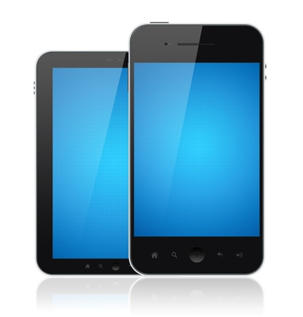 Two mobile smartphones with blank blue screen isolated on white. Include clipping path for phones and screens. Stock Photo - 12181472
