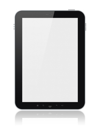 Digital tablet PC with blank screen isolated on white. Include clipping path for tablet and screen. photo