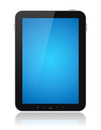 Digital tablet PC with blue screen isolated on white. Include clipping path for tablet and screen. photo