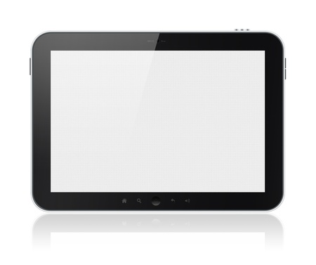input device: Digital tablet PC with blank screen isolated on white. Include clipping path for tablet and screen.