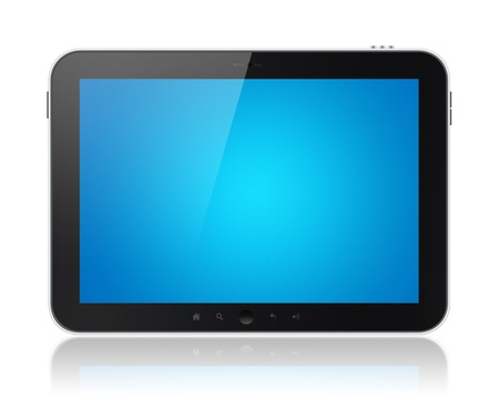 Digital tablet PC with blank blue screen isolated on white. Include clipping path for tablet and screen. photo