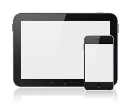 electronic devices: Modern digital tablet PC with mobile smartphone isolated on white. Include clipping path for tablet and phone. Stock Photo
