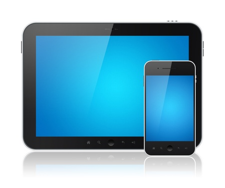 Modern digital tablet PC with mobile smartphone isolated on white. Include clipping path for tablet and phone. Stock Photo - 12181511