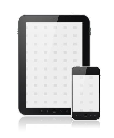 ger�te: Moderne digitale Tablet-PC mit Mobile Smartphone isoliert auf wei�. Enthalten Clipping-Pfad f�r Tablet und Telefon.