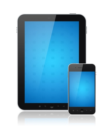 input device: Modern digital tablet PC with mobile smartphone isolated on white. Include clipping path for tablet and phone. Stock Photo