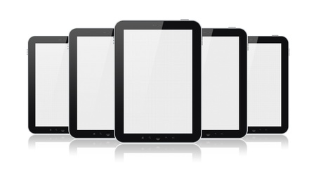 Set of digital tablets with blank screen isolated on white.