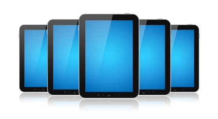 Set of digital tablets with blank blue screen isolated on white. photo