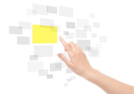 touchscreen: Mujer mano con interfaz de pantalla t�ctil. Aislado en blanco. Foto de archivo