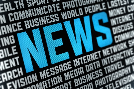 Digital poster with News headline and keywords on news theme  Selective focus on headline text