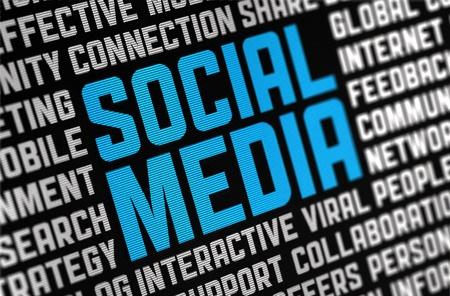 Digital poster on a social media theme  Selective focus on headline text