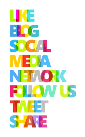 multiplicar: Nombres de los colores sobre el tema de los medios de comunicación social, aislado en blanco