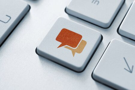 Speech bubble key button on the keyboard  Toned Image  Stock Photo - 12449153