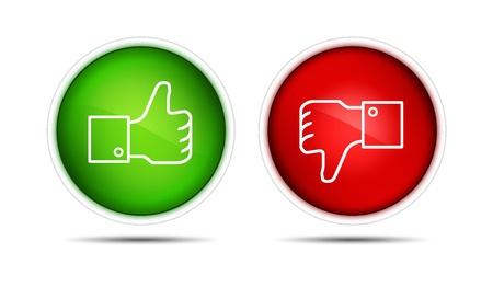 pulgar abajo: lIllustration del pulgar y el dedo pulgar para arriba hacia abajo los botones aislados en blanco Foto de archivo