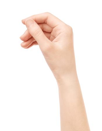 alzando la mano: Mano de la mujer tienen tarjeta de presentación virtual aislado en blanco