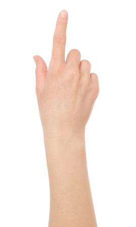 on fingers: Mano de la mujer tocando la pantalla virtual aislado en blanco