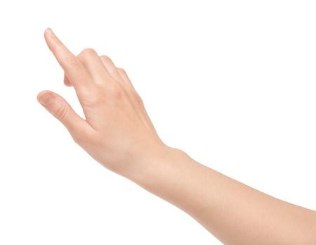 Vrouw de hand aanraken van virtuele scherm Geà ¯ soleerd op wit Stockfoto