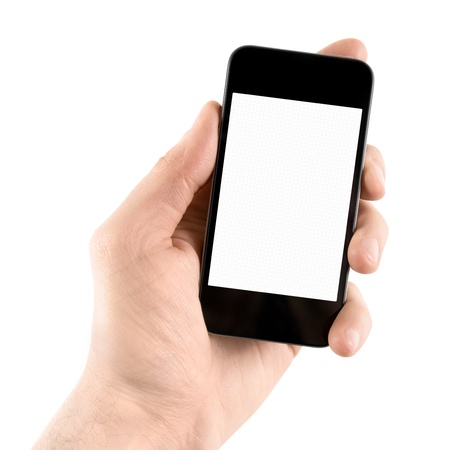 Hand holding mobile smart phone with blank screen  Isolated on white  photo