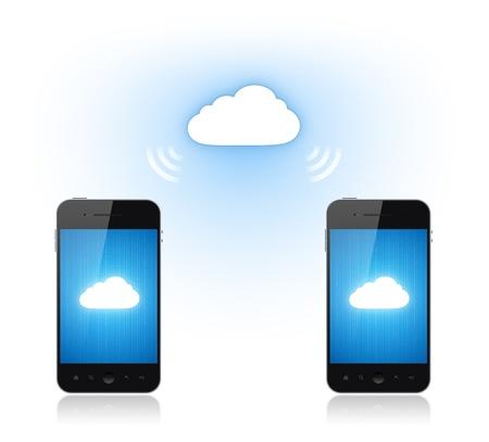 La comunicación entre dos teléfonos móviles a través de conexión cloud computing. Ilustración conceptual. Aislado en blanco. Foto de archivo