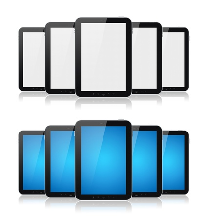 Set of digital tablets with blank screen isolated on white. Stock Photo - 12750850
