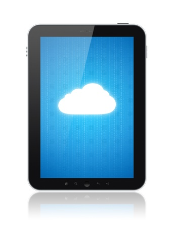 electronic devices: Cloud computing connection on digital tablet pc. Conceptual image. Isolated on white.