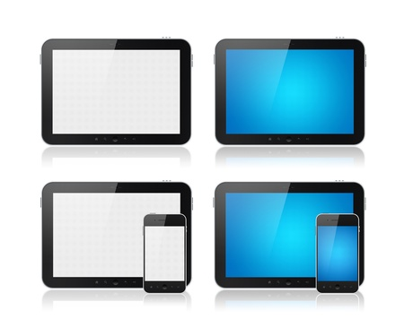 Set of Modern digital tablet PC with mobile smartphone. Isolated on white. photo