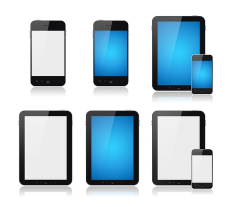note pc: Set of modern digital tablet PC with mobile smartphone. Isolated on white. Stock Photo