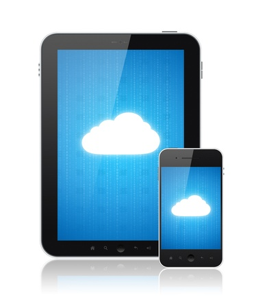 Cloud computing connection on digital tablet pc and modern smart phone. Conceptual image. Isolated on white. photo