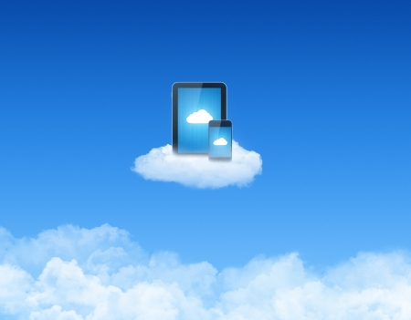 android tablet: Modern tablet pc with mobile smart phone on a cloud. Conceptual image on cloud computing theme. Stock Photo