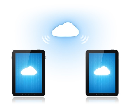 Communication between two mobile phone via cloud computing connection. Conceptual illustration. Isolated on white. Stock Illustration - 12750864