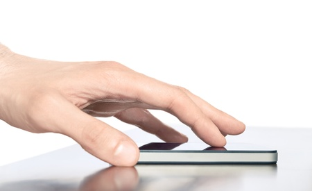 Man hand touching screen on modern mobile smart phone. Isolated white background.