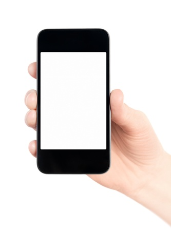 Hand holding mobile smart phone with blank screen  Isolated on white  Stock Photo - 12938474