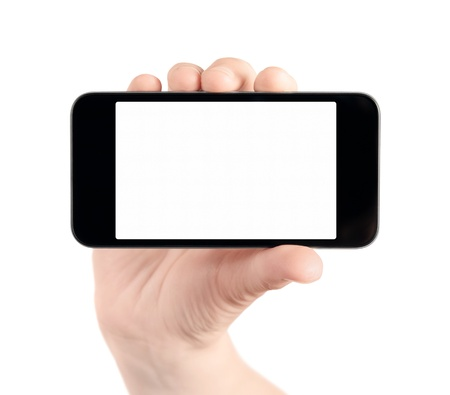 Hand holding mobile smart phone with blank screen  Isolated on white  Stock Photo - 12938463