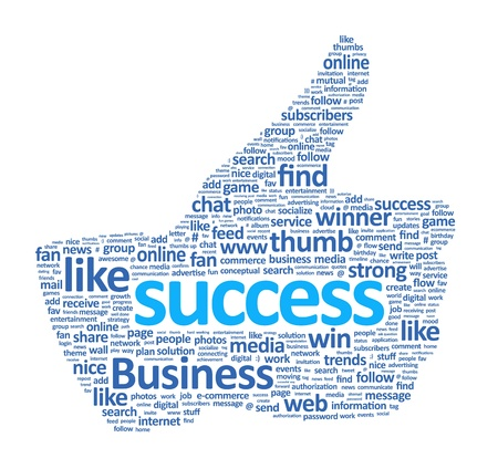 Success thumb up sign is made of various single words  Isolated on white  photo
