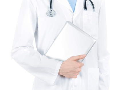 Doctor in white coat with stethoscope holding digital tablet pc  Isolated on white  photo