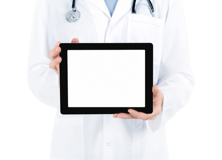 doctors tools: Doctor in white coat with stethoscope showing blank digital tablet pc  Isolated on white