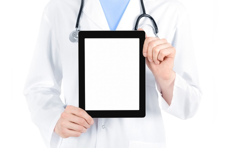 Doctor in white coat with stethoscope showing blank digital tablet pc  Isolated on white  photo
