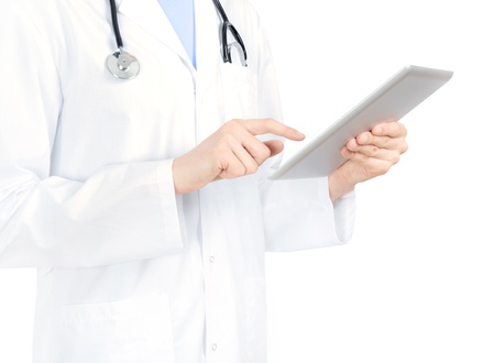 Doctor in white coat with stethoscope holding and touching on digital tablet pc  Isolated on white
