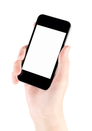 hand holding phone: Hand holding mobile smart phone with blank screen  Isolated on white