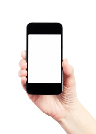 Hand holding mobile smart phone with blank screen  Isolated on white Stock Photo - 13059716